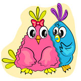 Valentines day romantic card. couple of birds in l Royalty Free Stock Photo