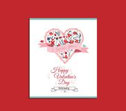 Valentines Day romantic card with heart shape royalty free illustration