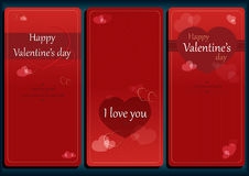 Valentines Day romantic card set. Heart shapes on red background Royalty Free Stock Photos