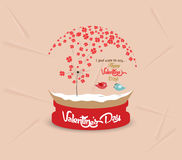 Valentines day with romantic dandelion heart globe card Stock Photography