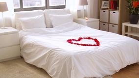 Cozy bedroom decorated for valentines day stock video footage