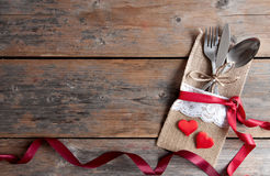 Valentines day romantic dinner background Stock Photo