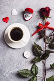 Valentines day romantic dinner table setting marry me wedding engagement ring Royalty Free Stock Image