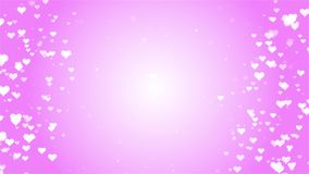Valentines Day romantic dreamy white Heart particles with pink background. You can use backgrounds for vfx, blog, vlogs, presentations, commercials stock footage