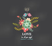 Valentines day Romantic floral and bird greeting card Stock Photo