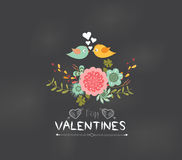 Valentines day Romantic floral and bird greeting card Stock Photos