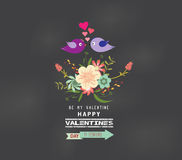 Valentines day Romantic floral and bird greeting card Royalty Free Stock Photo