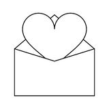 Valentines day romantic mail heart envelope open outline Stock Photos