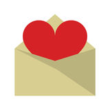 Valentines day romantic mail heart envelope open Royalty Free Stock Photography