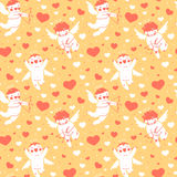 Valentines Day romantic seamless pattern with cute Stock Photography