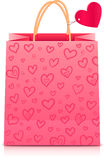 Valentines day rore paper shopping bag Stock Images