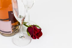 Valentines Day rose with champagne and flutes Royalty Free Stock Photos