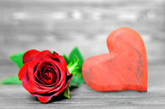 Valentines Day rose and heart Stock Images
