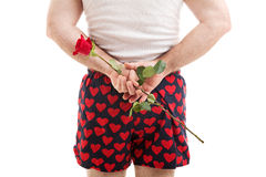 Valentines Day - Rose for Her. Rear view of a man in heart boxer shorts holding a red rose for his lover behind his back. White background stock photos