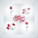 Valentines day rose set design vector background Stock Photos