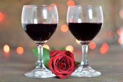 Valentines Day rose and two glasses of wine Royalty Free Stock Photo