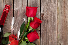 Valentines day roses bouquet and champagne Royalty Free Stock Image