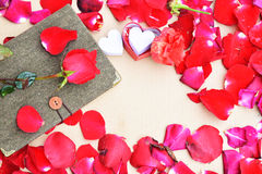 Valentines day with Roses and hearts background Stock Photography