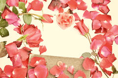 Valentines day with Roses and hearts background Stock Images