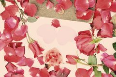 Valentines day with Roses and hearts background Stock Photos