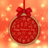 Valentines Day round card, valentine background, Gift tag, banner, label. Valentines Day round card with red bow, Valentine heart light gold background, Love Stock Photography