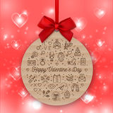 Valentines Day round card, valentine background, Gift tag kraft paper Stock Image