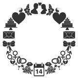 Valentines Day round frame of the icons. Set of monochrome signs in a ring shape. Royalty Free Stock Image
