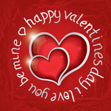 Valentines day round lettering with two red hearts. Stock Photos