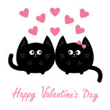 Valentines Day. Round shape black cat icon. Love family couple. Pink heart Cute cartoon character. Kawaii animal. Happy emotion.. Kitty kitten Baby pet Stock Photos