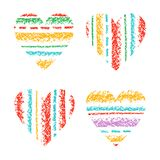 Love hearts set striped crayon hand drawing with colorful stroke. Stock Images