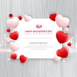 Valentines day sale background with balloons heart pattern on wo. Oden texture. Vector illustration. Wallpaper, flyers, invitation, posters, brochure, banners Stock Images