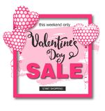Valentines day sale background with balloons heart. Vector illustration. Wallpaper, flyers, invitation, posters Royalty Free Stock Photo