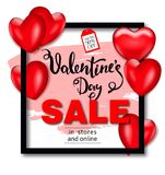 Valentines day sale background with balloons heart. Vector illustration. Wallpaper, flyers, invitation, posters Stock Photos