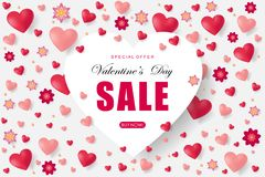 Valentines day sale background with heart. Vector illustration. Wallpaper. Flyers, invitation, posters, brochure, banners, voucher design template Stock Photos