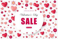 Valentines day sale background with heart. Vector illustration. Wallpaper. Flyers, invitation, posters, brochure, banners, voucher design template Royalty Free Stock Photography