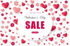 Valentines day sale background with heart. Vector illustration. Wallpaper. Flyers, invitation, posters, brochure, banners, voucher design template Stock Photo