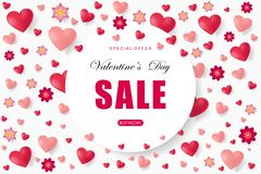 Valentines day sale background with heart. Vector illustration. Wallpaper. Flyers, invitation, posters, brochure, banners, voucher design template Stock Image