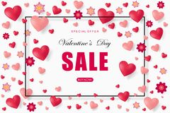 Valentines day sale background with heart. Vector illustration. Wallpaper. Flyers, invitation, posters, brochure, banners, voucher design template Stock Photography