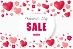 Valentines day sale background with heart. Vector illustration. Wallpaper. Flyers, invitation, posters, brochure, banners, voucher design template Royalty Free Stock Image