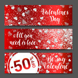 Valentines day sale background with icon set pattern. Royalty Free Stock Photography