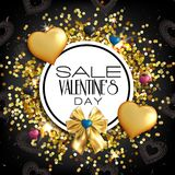 Valentines Day Sale banner. Abstract background with hearts orn. Luxury Valentines Day Sale banner with gold and black hearts on black background. Abstract royalty free illustration