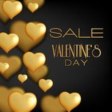 Valentines Day Sale banner. Abstract background with hearts orna. Valentines Day Sale banner with gold  hearts on black background. Abstract background with Royalty Free Stock Photos