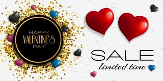 Valentines Day Sale banner. February 14.Vector illustration. Valentines Day Sale banner. Abstract background with hearts ornaments Royalty Free Stock Images