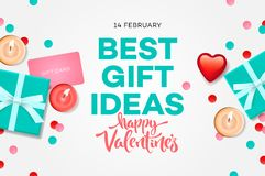 Valentines day sale banner, best gift ideas, sweet blue gift box, candles, gift certificate, confetti, vector. Illustration stock illustration