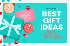 Valentines Day Sale Banner Best Gift Ideas Sweet Blue Gift Box