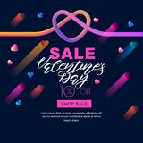 Valentines day sale banner. 3d colorful gradient liquid heart and lettering on black background. Glowing neon design for holiday flyer, poster, party Stock Photos