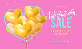 Valentines Day sale banner design template of heart papercard on pink background. Vector 14 February Valentine day holiday sale pr. Vector Valentines Day Sale stock illustration