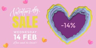 Valentines Day sale banner design template of heart papercard on pink background. Vector 14 February Valentine day holiday sale pr. Omo offer discount for royalty free illustration