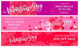 Valentines Day sale banner design template of pink red hearts and flower petals background. Vector 14 February Valentine day holid stock illustration