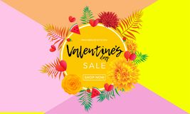 Valentines Day sale banner of hearts, yellow rose flowers and palm leaf or berry on pink background. Vector Valentine fashion shop. Ping season sale discount Royalty Free Stock Photo